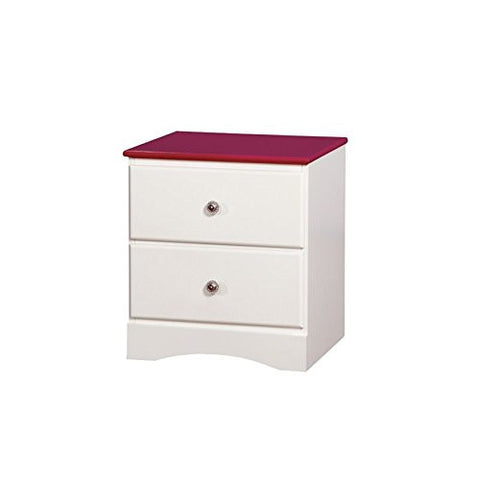 Furniture of America Emely 2 Drawer Nightstand in Pink and White