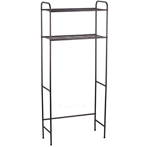 Over The Toilet Bathroom Storage Rack Is A Real Space Saver! Its Metal Shelves & Bronze Finish With Two Shelf Caddie Paper Roll Holder also Fit Standard Commodes