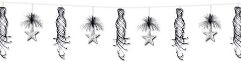 Beistle 1-Pack Star Shimmer Garland, 10-Feet, Black and Silver