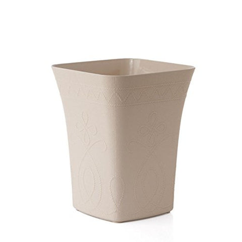 Hflove Creative Relief Square kitchen Trash Can Plastic Kitchen Trash Can,8L (Beige)