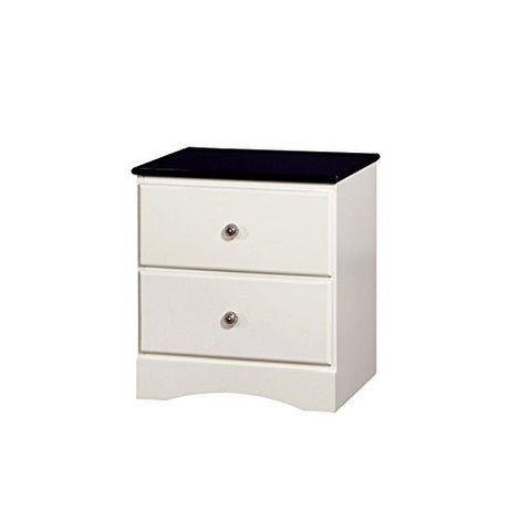 Furniture of America Emely 2 Drawer Nightstand in Blue and White