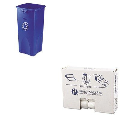 KITIBSS303713NRCP356973BE - Value Kit - IBS S303713N High Density Commercial Coreless Roll Can Liners, Natural (IBSS303713N) and Rubbermaid Blue Untouchable Square Recycling Container, 23 Gallon (RCP356973BE)