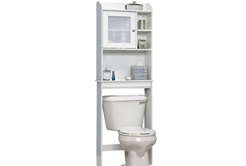 Over The Toilet Bathroom Shelf,Free Standing Space Saving Cabinet,Cubbyhole Storage With 5 Adjustable Shelf, White, Interior Decorating