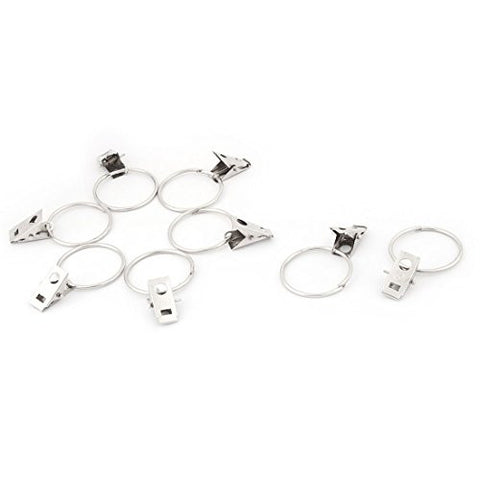uxcell Metal Clothes Curtain Fix Hanging Clip Ring Clamps 8pcs Silver Tone