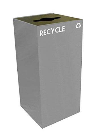 Witt Industries 32GC04-SL GeoCube Recycling Receptacle with Combination Slot/Round Opening, Steel, 32 gal, Slate
