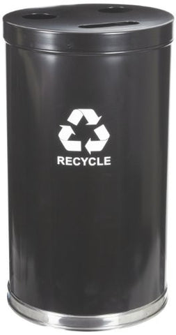 "Witt Industries 18RTBK Steel 33-Gallon 3 Opening Recycling Container with 3 Plastic Liners, Legend ""Recycle"", Round, 18"" Diameter x 33"" Height, Black"