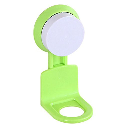 Euone Strong Suction Cup Shower Gel Shampoo Bathroom Wall Mounted Rack Hooks (Green)