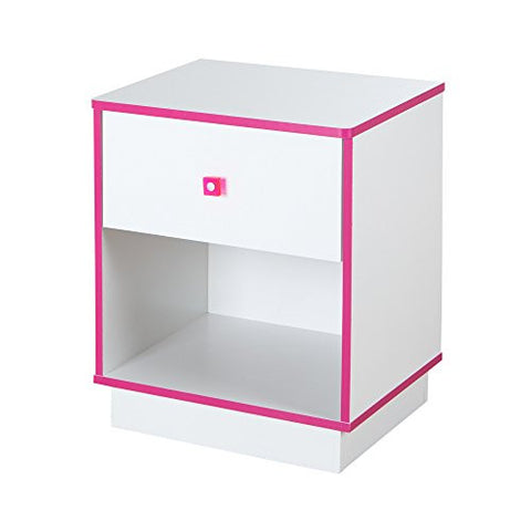 Logik Clear Pink Square Plastic Handle with Metal Centers 1 Drawer Nightstand