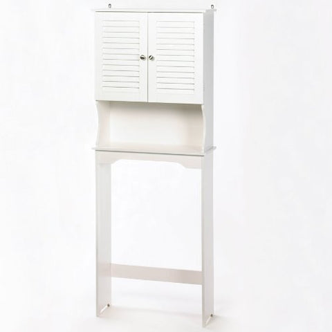 White Slatted Bathroom Space Saver Cabinet