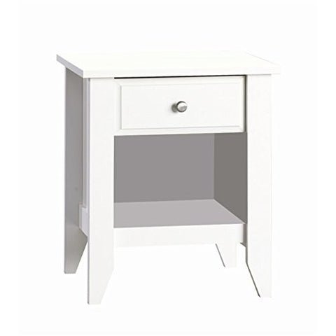Shoal Creek Matte White Night Stand Features Nickel Hardware and One Shelf