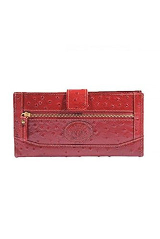 Peridot Ostrich Print Bi-Fold Slim Long Wallet (Red)