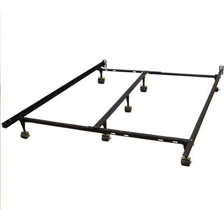 Hercules Universal Heavy Duty Adjustable Metal Bed Frame with Double Rail Center Support Bar Fits All Mattress Sizes