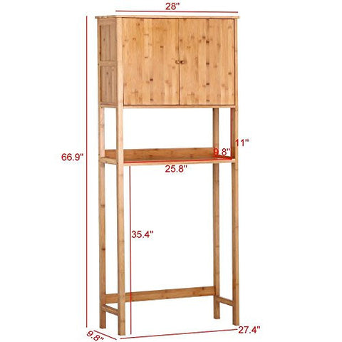 go2buy Bamboo Space Saver Cabinet Over Toilet for Bathroom,28 x 9.8 x 66.9'' (WxDxH)