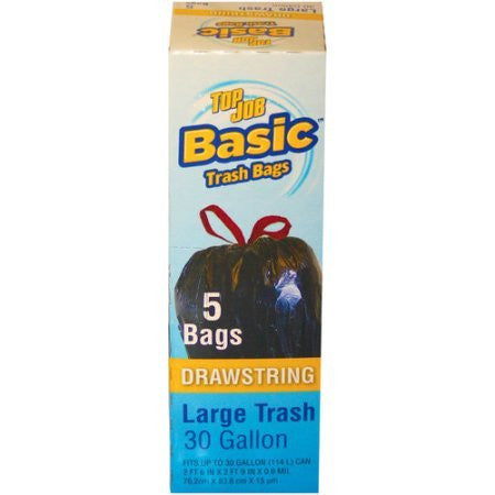 Top Job Basic Drawstring Large Trash Bags, 30 gal, 5 count