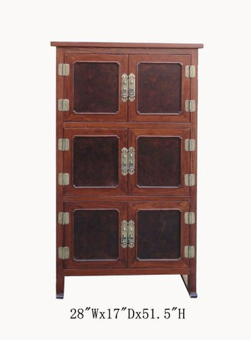 Tall Korean Burl Wood Inlay Multiple Shelves Storage Cabinet Awk2497