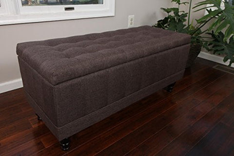 Home Life Lift Top Storage Bench with Tufted Accents Chocolate Brown Textured Linen Fabric with Wooden Legs