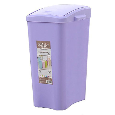 Hflove kitchen Trash Can Plastic Toilet Trash Can with lid,8L (Purple)