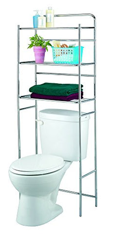 "Finnhomy 3 Shelf Bathroom Space Saver Over Toilet Rack Bathroom Corner Stand Storage Organizer Accessories Bathroom Cabinet Tower Shelf Metal Stainless Steel with Chrome Finish 23.5""W x 10""D x 60""H"