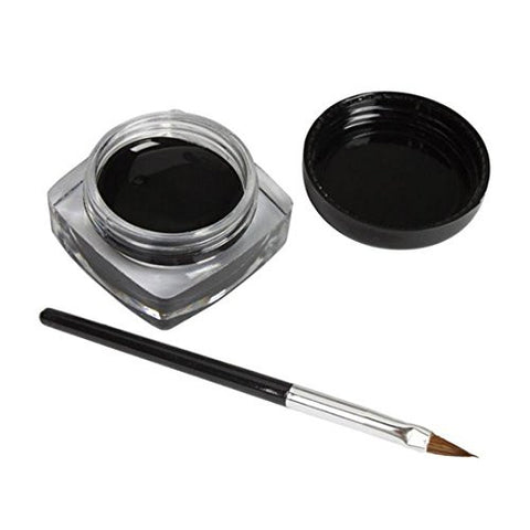 Eyeliner Gel Cream With Brush,Hemlock Mini Eyeliner Brush Makeup Kits Waterproof Eye Liner (Black)