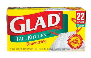Glad Tall Drawstring Kitchen Trash Bags, White, 22 ct, 13 Gallon