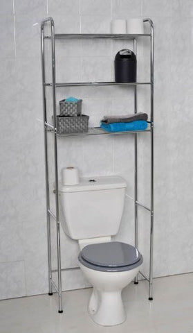 Over toilet 3-tier shelf unit in chrome metal by Tendance