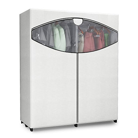 "Wardrobe Closet Storage Organizer with Hanging Clothes Rack - 60"" Wide - Portable Stand Alone with Cover"