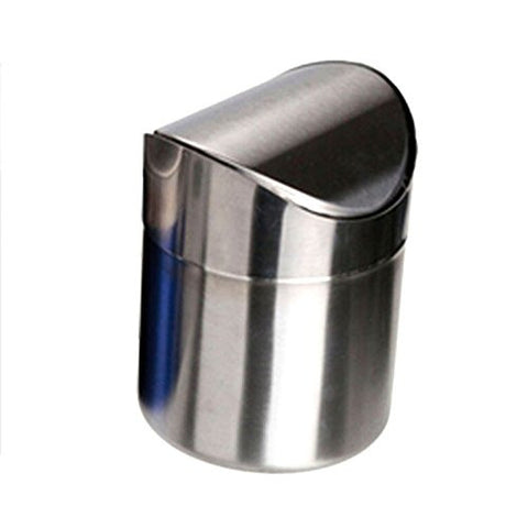 Rely2016 Stainless Steel Mini Trash Can 1.5L Dust Bin Swing Lid Kitchen Car Worktop Waste Can Silver/Red/Pink/Blue (Silver)