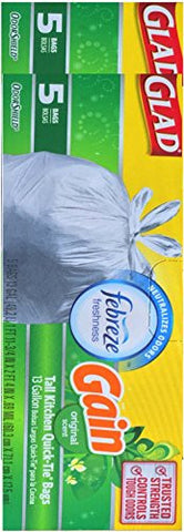 Glad Febreze Scented Tall Kitchen Quick Tie Bags Odor Shield Trusted Strength & Controlled Odors (2, Original Scent)