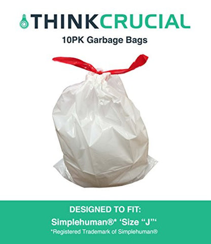 "Think Crucial 10PK Durable Garbage Bags Fit simplehuman 'size ""J""', 30-45L / 8-12 Gallon"