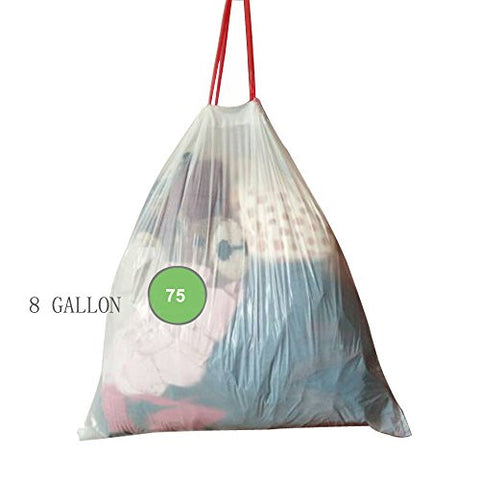 Drawstring Force Medium Garbage Bag 8 Gallon 75 Count