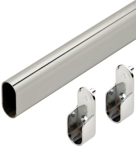 "Oval Closet Rod with End Supports - 24"" Chrome"