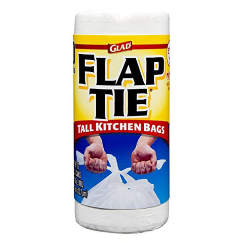Glad Tall Kitchen Flaptie, White, 13 Gallon, 40 Count