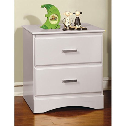 Furniture of America Geller 2 Drawer Nightstand in Coconut White