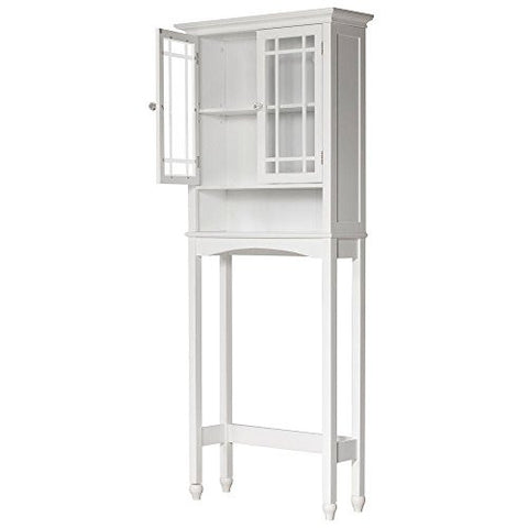 Albion 28 in. W x 68 in. H x 9-1/2 in. D Over the Toilet Storage Cabinet with 2 Glass Panel Doors in White