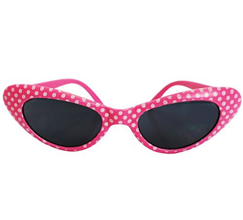 Retro Polka Dot Sunglasses - Flirty Retro Style Polka Dot Sunglasses by Funny Party Hats (Pink)
