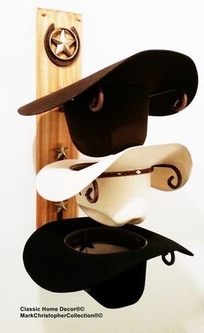 American Made Cowboy Hat Holder Wood with Lone Star Golden Cedar Finish