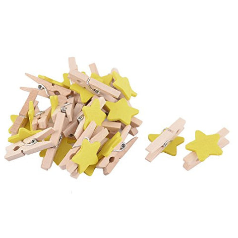 uxcell Star Pattern Card Photo Paper Spring Peg Mini Wooden Clip 20pcs Yellow