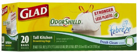 Glad Tall Kitchen Odor Shield Drawstring Trash Bags, Fresh Clean Scent, White - 13 gal - 20 ct