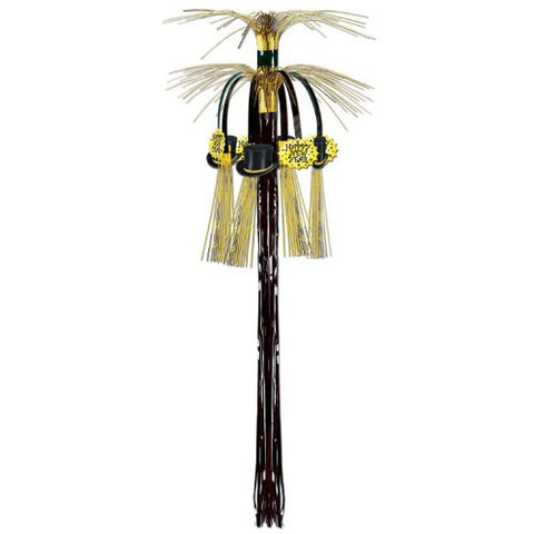 New Year Cascade Hanging Column (black & gold) Party Accessory  (1 count) (1/Pkg)