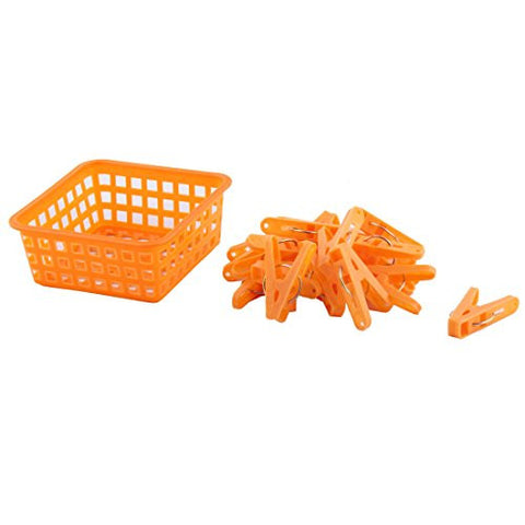 uxcell Home Clothes Hanging Pegs Clothespins Hanger Clips 20pcs Orange w Storage Basket