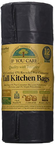 IF YOU CARE 13 Gallon 97% Recycled Tall Kitchen, Trash Bags, 12 Count