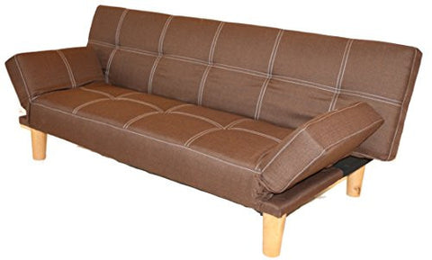 Futon Sofa Bed with Removable Arm Rests Brown Fine Fabric Finish by Home Life s268