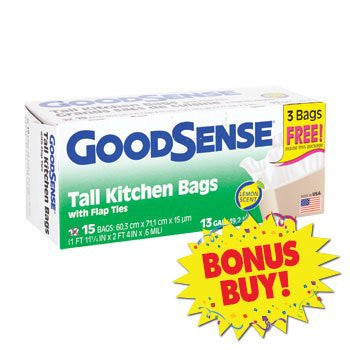 Single BONUS! GoodSense Lemon-Scented Tall Kitchen Trash Bags 15-ct.