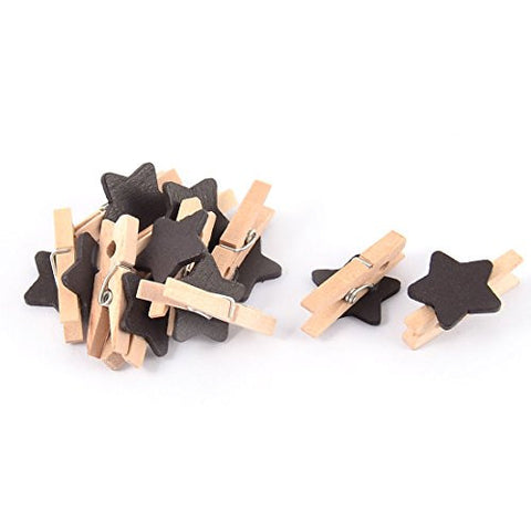 uxcell Star Shaped Card Photo Clothe Pegs Craft Mini Wooden Clip 10pcs Black