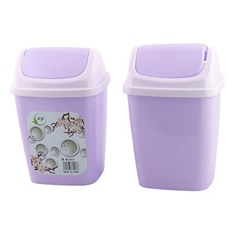 uxcell Plastic Household Apartment Litter Waste Rubbish Garbage Bin Can 2 PCS Light Purple