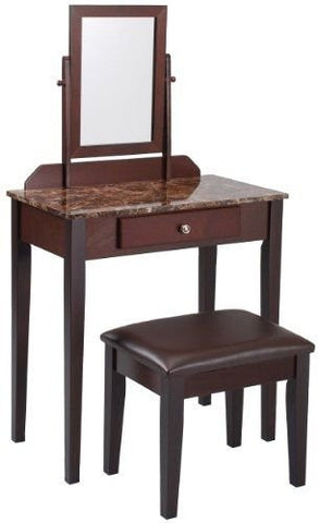 Eight24hours Iris Vanity Table/Stool, Espresso Finish, Marble Top