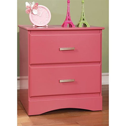 Furniture of America Geller 2 Drawer Nightstand in Raspberry Pink