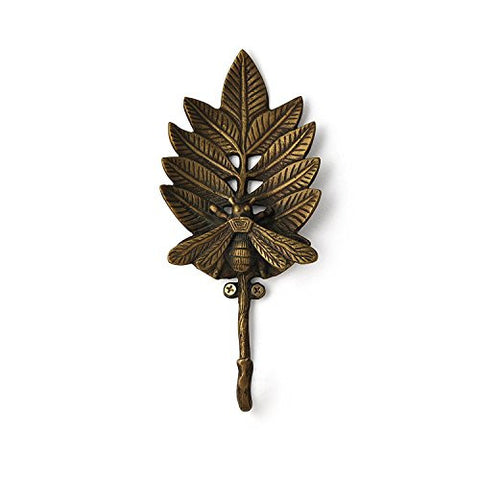 Artisanal Creations 815060020239 Bee On Leaf Hook Cast Iron Coat or Key Hook