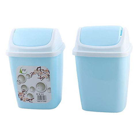 uxcell Plastic Household Dorm Apartment Litter Waste Rubbish Garbage Bin Can 2 PCS Blue