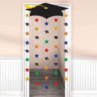 "Congrats Grad! Graduation Party Grad Cap and Stars Door Curtain Decoration, Cardboard, 66"" x 39"""